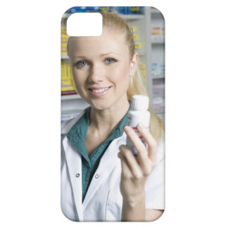 pharmacist holding pill bottle, smiling, case for the iPhone 5