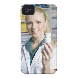 pharmacist holding pill bottle, smiling, iPhone 4 Case-Mate case