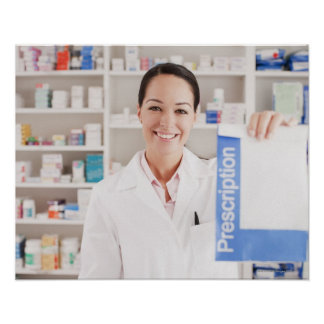 Pharmacist holding prescription in drug store poster