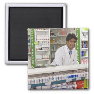 Pharmacist in a pharmacy square magnet