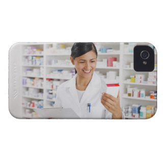 Pharmacist in drug store holding clipboard iPhone 4 Case-Mate case