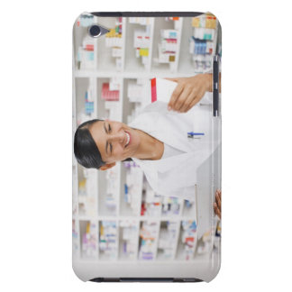 Pharmacist in drug store holding clipboard iPod touch case
