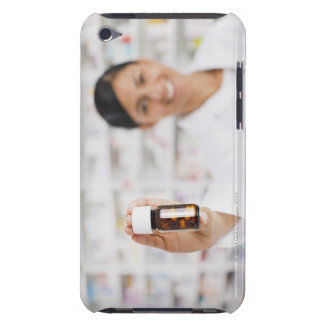 Pharmacist in drug store holding out pill bottle barely there iPod covers