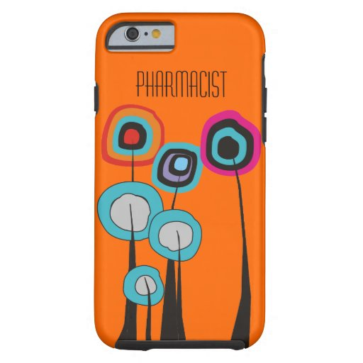 Pharmacist iPhone 6 case Whimsical Trees Orange