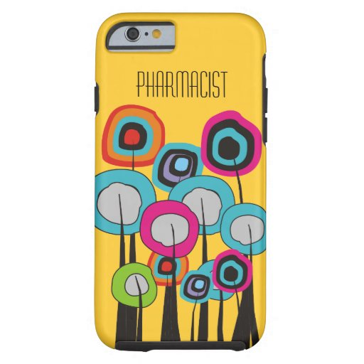 Pharmacist iPhone 6 case Whimsical Trees Yellow