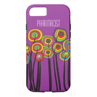 Pharmacist iPhone 7 case Whimsical Trees Magenta