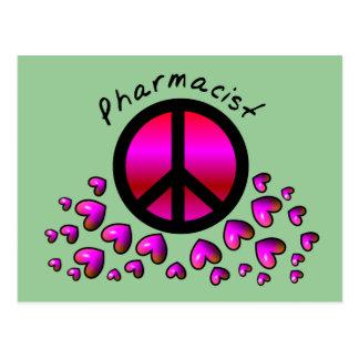 Pharmacist Peace & Hearts Design Gifts Postcard
