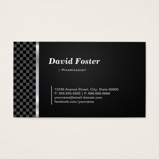 Pharmacist Professional Black White Business Card