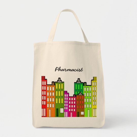 Pharmacist Tote Whimsical Retro Buildings Art