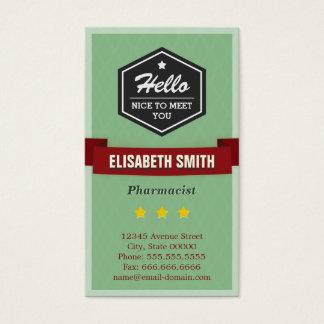 Pharmacist - Vintage Retro Stylish Business Card