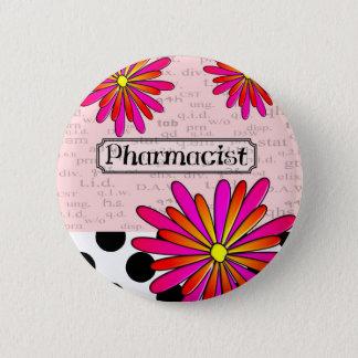Pharmacist Whimsical Flowers 6 Cm Round Badge