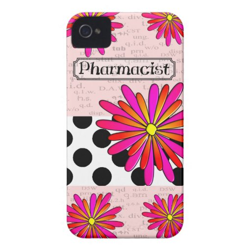 Pharmacist Whimsical Flowers Case-Mate iPhone 4 Cases