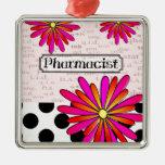 Pharmacist Whimsical Flowers Christmas Tree Ornament