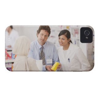 Pharmacists answering questions for customer in Case-Mate iPhone 4 cases