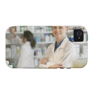 Pharmacists at counter of retail pharmacy vibe iPhone 4 case