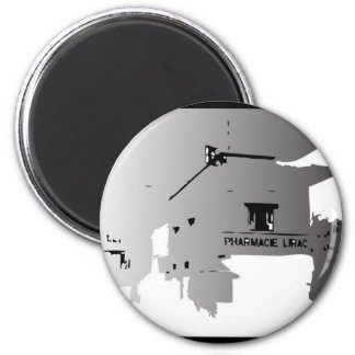 PHARMACY ABROAD BLACK AND WHITE ILLUSTRATION 6 CM ROUND MAGNET