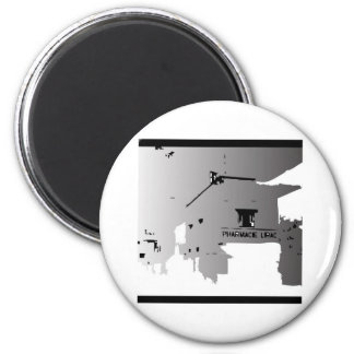 PHARMACY ABROAD BLACK AND WHITE ILLUSTRATION MAGNET