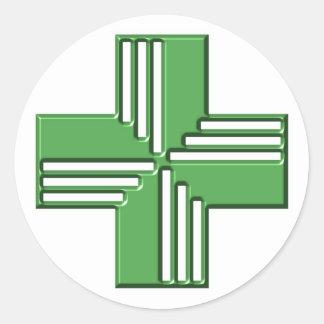 Pharmacy Cross Round Sticker