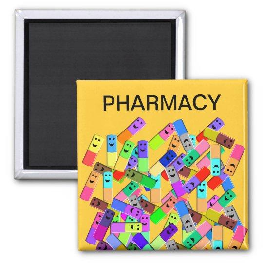 "Pharmacy ""Happy Pills"" Design Square Magnet"