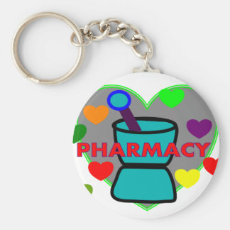 """""""PHARMACY""""  Multi Color Hearts Basic Round Button Key Ring"""