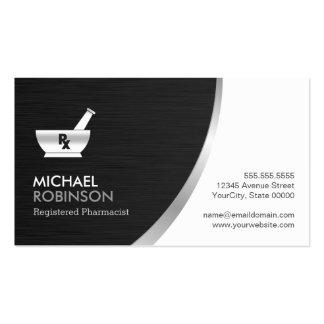 Pharmacy Pharmacist Logo - Modern Black Silver Pack Of Standard Business Cards