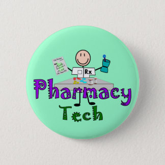 Pharmacy Tech Stick People Design Gifts 6 Cm Round Badge