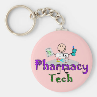 Pharmacy Tech Stick People Design Gifts Key Ring