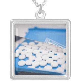Pharmacy tools, pills, medication square pendant necklace