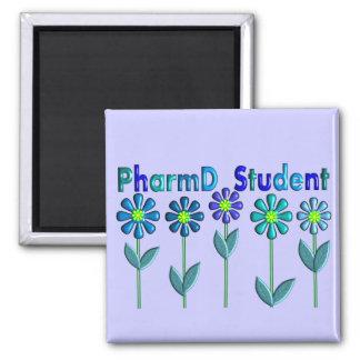 PharmD Student BLUE FLOWERS Square Magnet