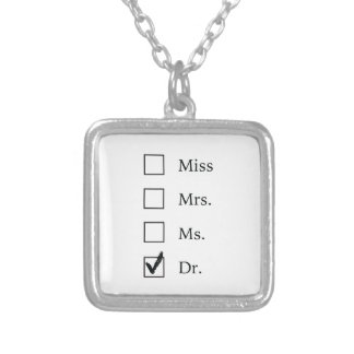 PhD gifts for women Silver Plated Necklace