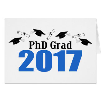 PhD Grad 2017 Caps And Diplomas (Blue) Card