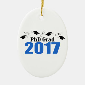 PhD Grad 2017 Caps And Diplomas (Blue) Christmas Ornament