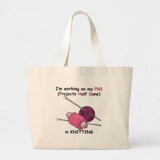PhD in Knitting Jumbo Tote Bag