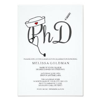 PhD Nursing nurse graduation invites simply stated