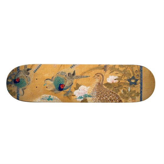 Pheasant Birds Partridge Animal Floral Skateboard