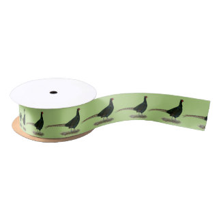 Pheasant Black Rooster Satin Ribbon