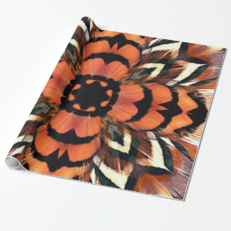 Pheasant Feather Kaleidoscope Party Wrapping Paper