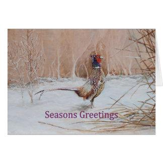 Pheasant in snow Seasons Greeting art Card