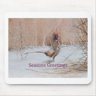 Pheasant in snow Seasons Greeting art Mouse Pad
