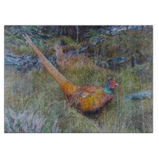 pheasant in woodland art cutting board