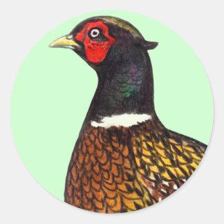 Pheasant:  Ringneck Head Round Sticker