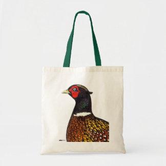 Pheasant Ringneck Head Tote Bags