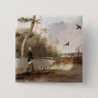 Pheasant Shooting (oil on canvas) 15 Cm Square Badge