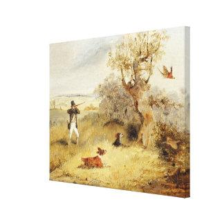 Pheasant Shooting (oil on canvas) 2 Canvas Print