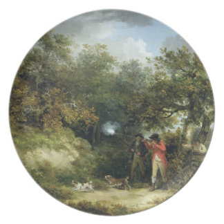 Pheasant Shooting (oil on canvas) 3 Dinner Plates