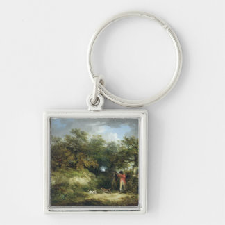 Pheasant Shooting (oil on canvas) 3 Silver-Colored Square Key Ring