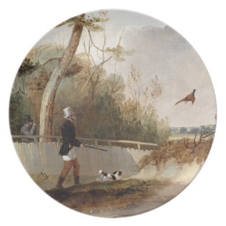 Pheasant Shooting (oil on canvas) Dinner Plate