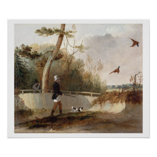 Pheasant Shooting (oil on canvas) Poster