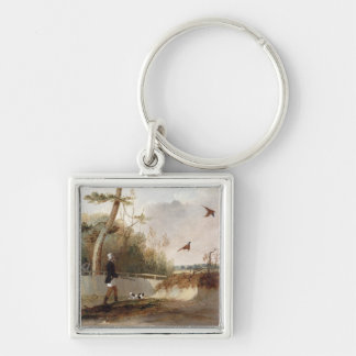 Pheasant Shooting (oil on canvas) Silver-Colored Square Key Ring
