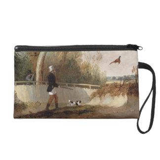 Pheasant Shooting (oil on canvas) Wristlet Clutch